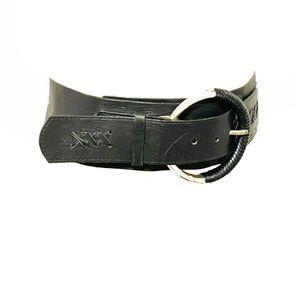 Black leather thick big buckle wide fashion belt